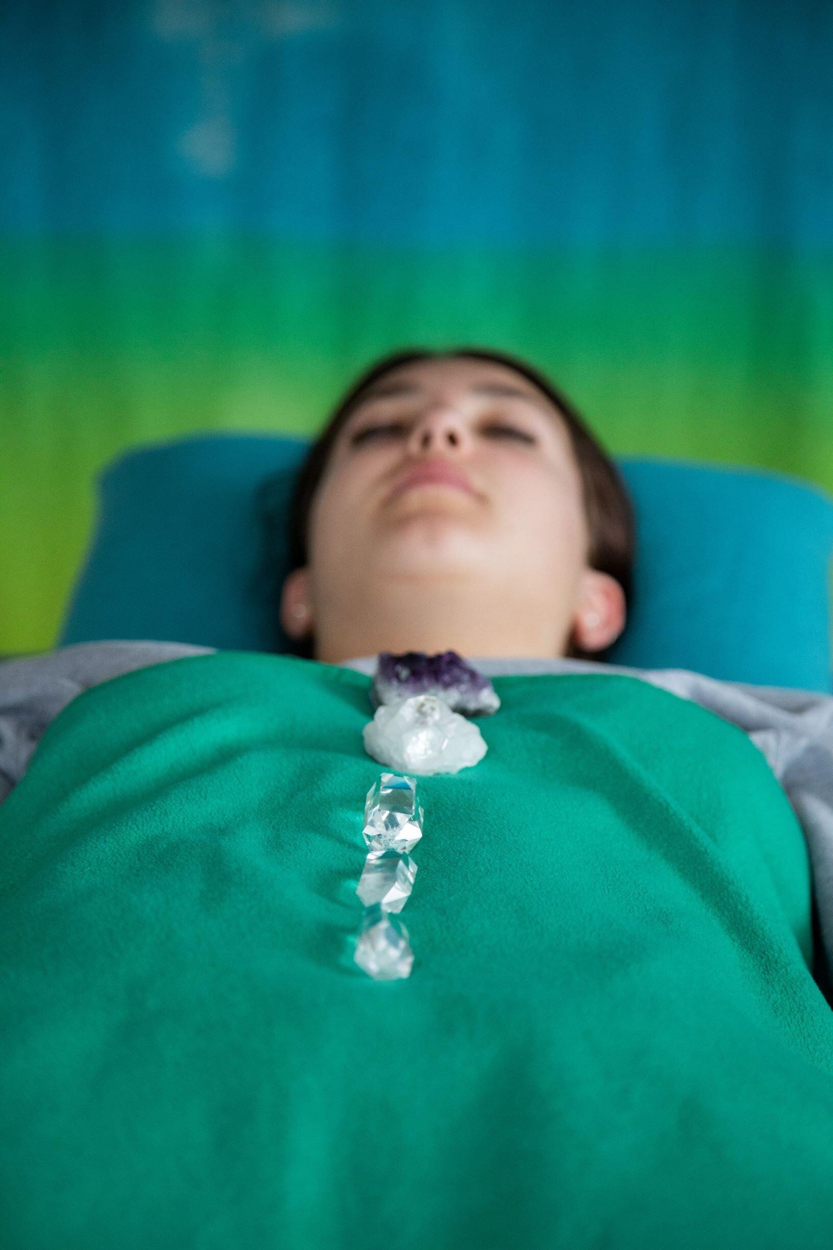 Green Teen in held space healing kinesiology