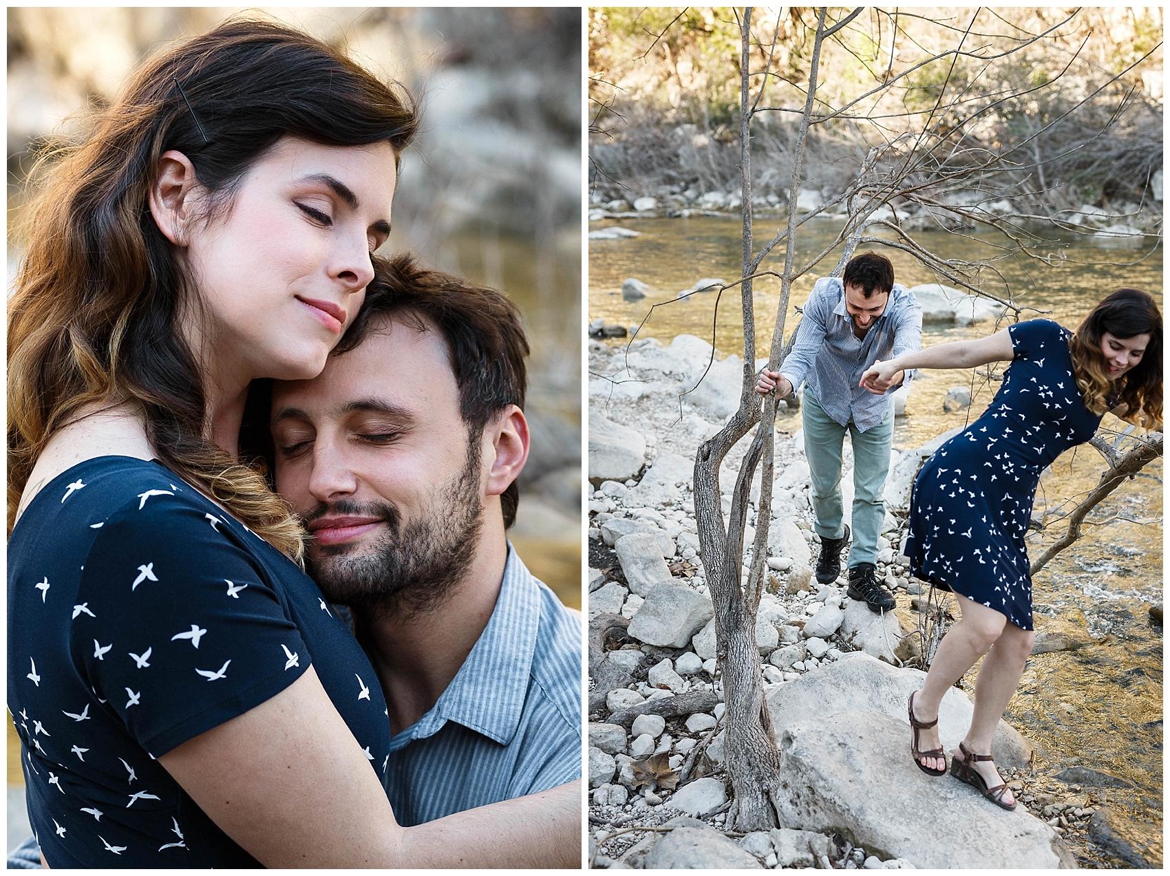 engaged couple walking in Austin's greenbelt
