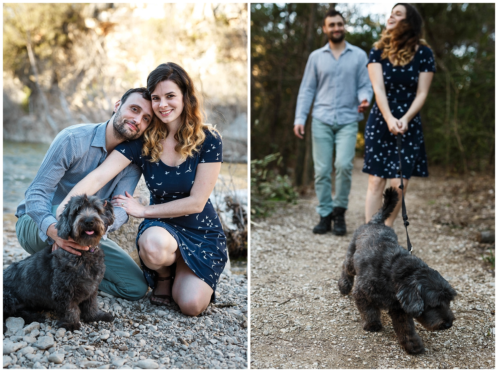 engaged couple walking their dog in Austin's greenbelt