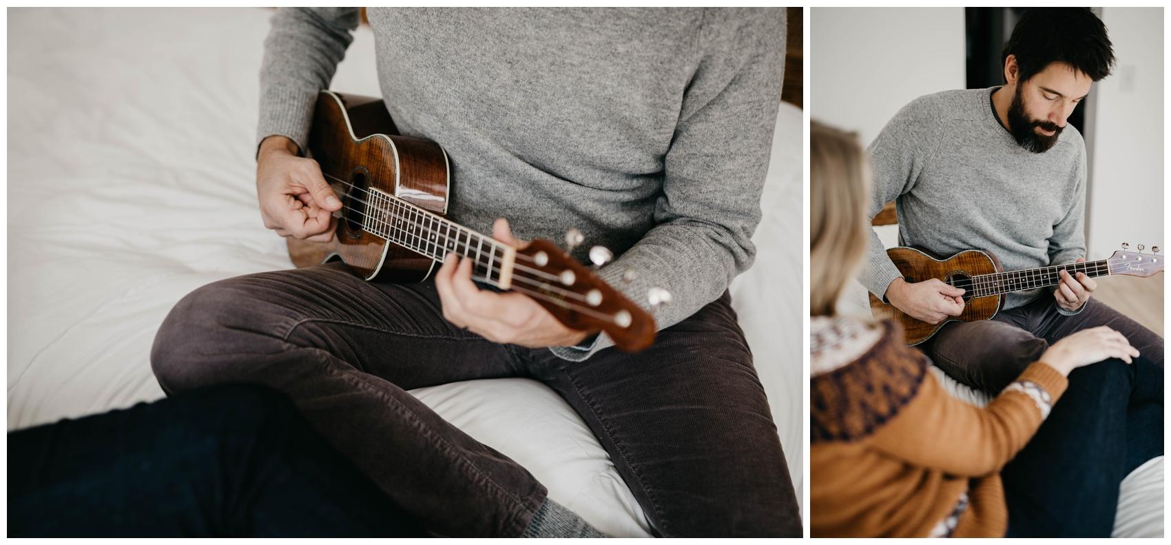 Michigan Couples Session. Couple on bed playing ukulele