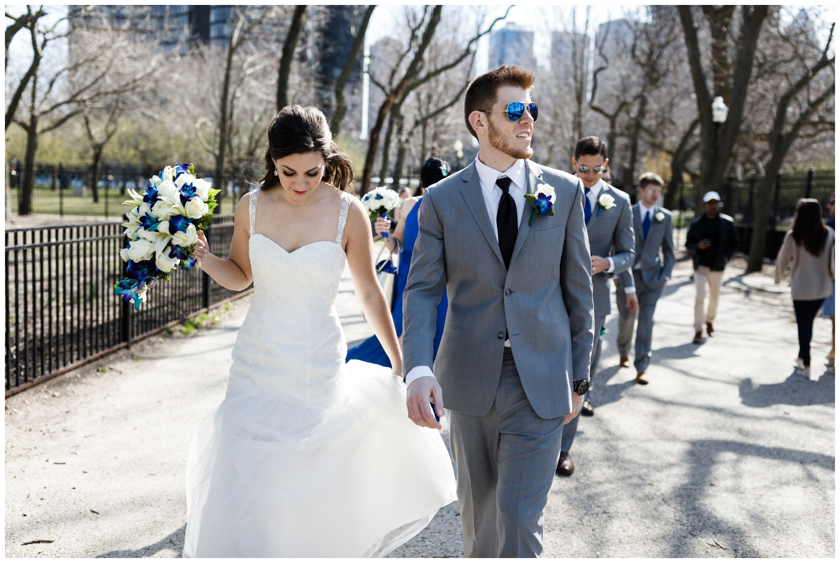 bride and groom in Olive park