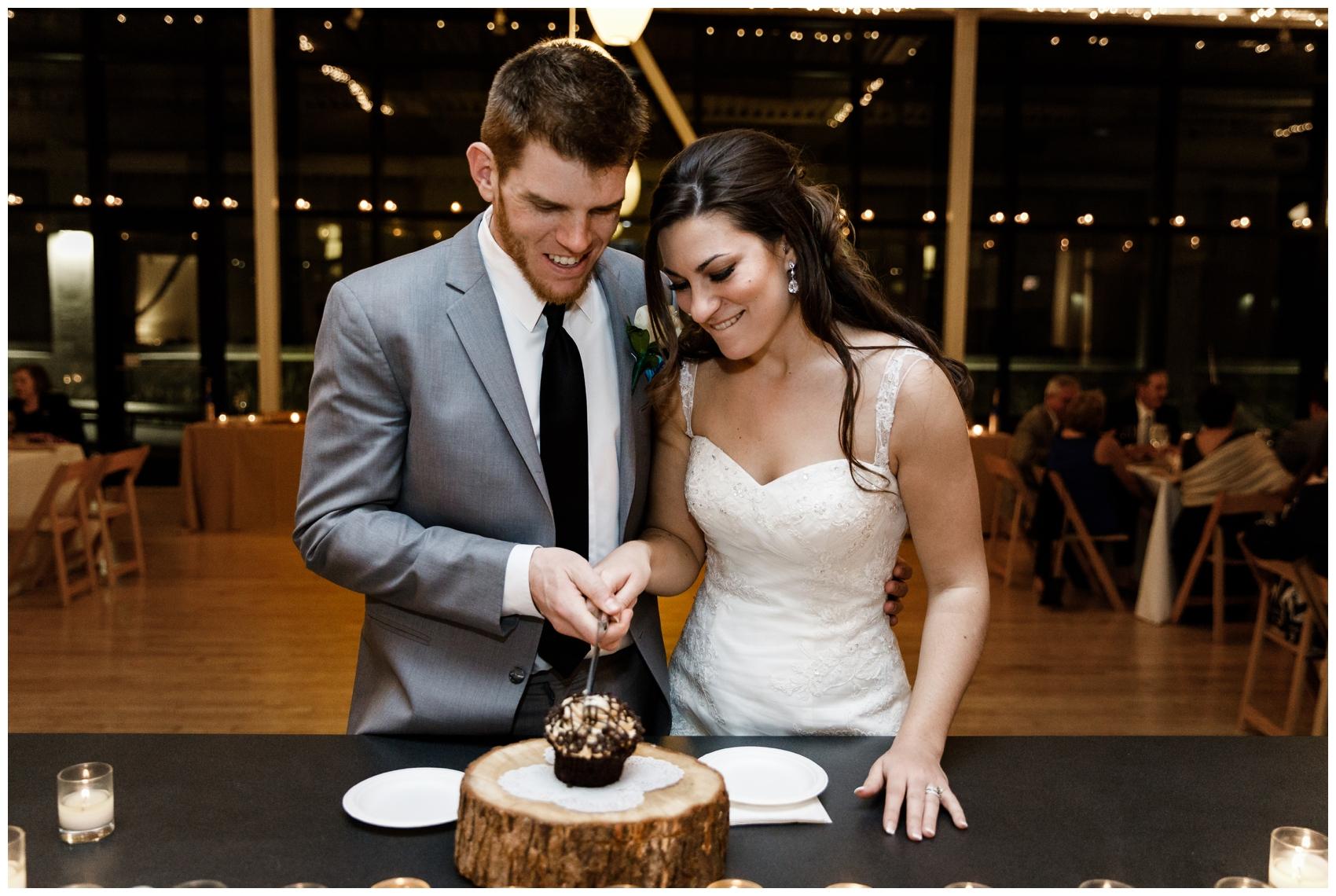 wedding cake cutting at Chicago's Greenhouse Loft