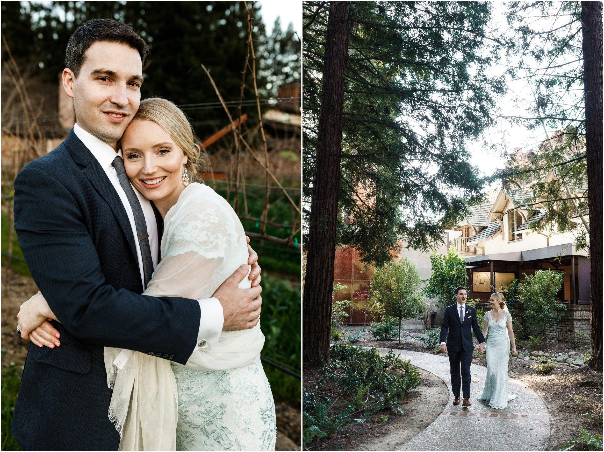 bride and groom posing in a vineyard at the Harvest Inn