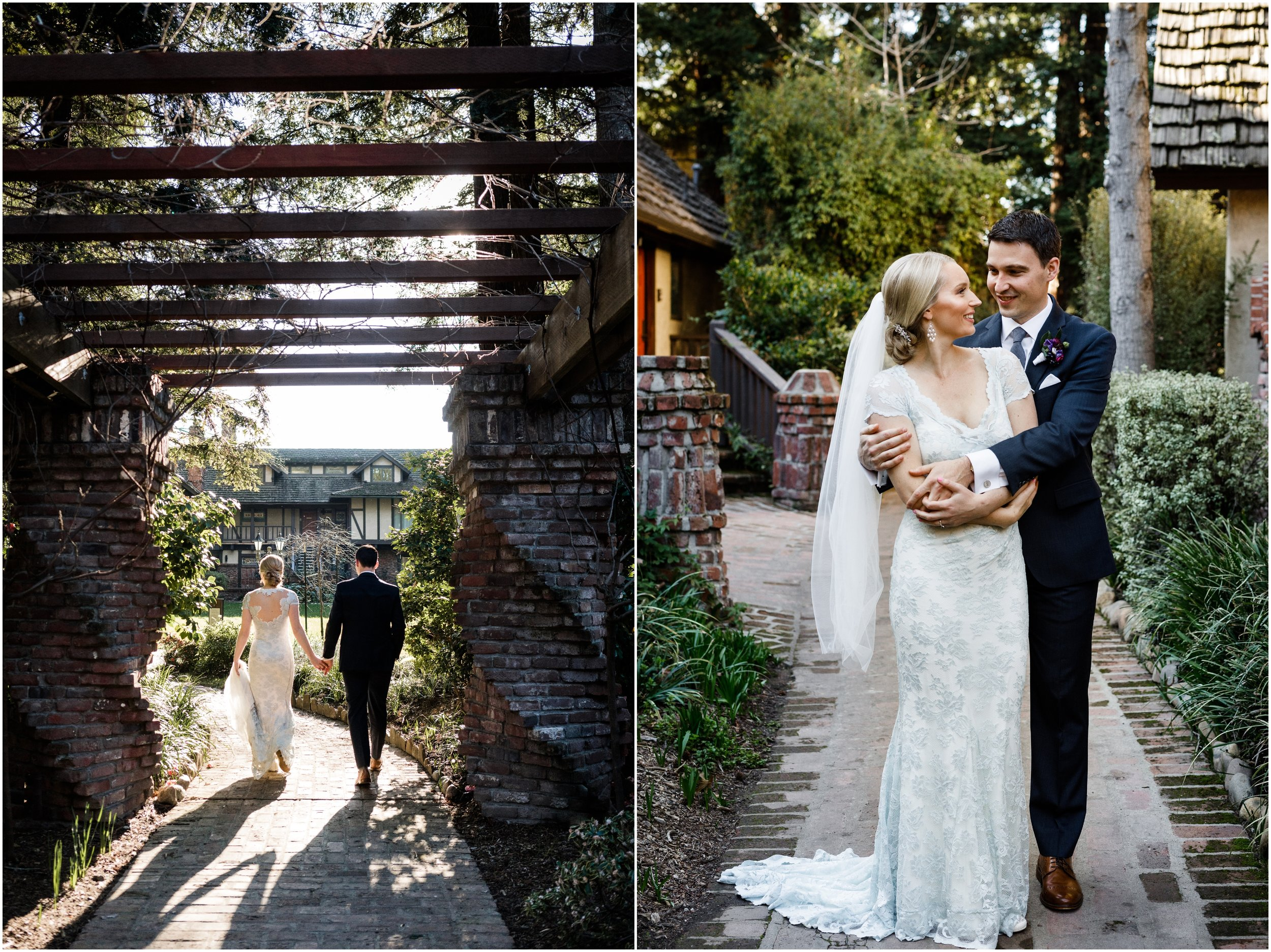 bride and groom walking through the Harvest Inn in Napa Valley