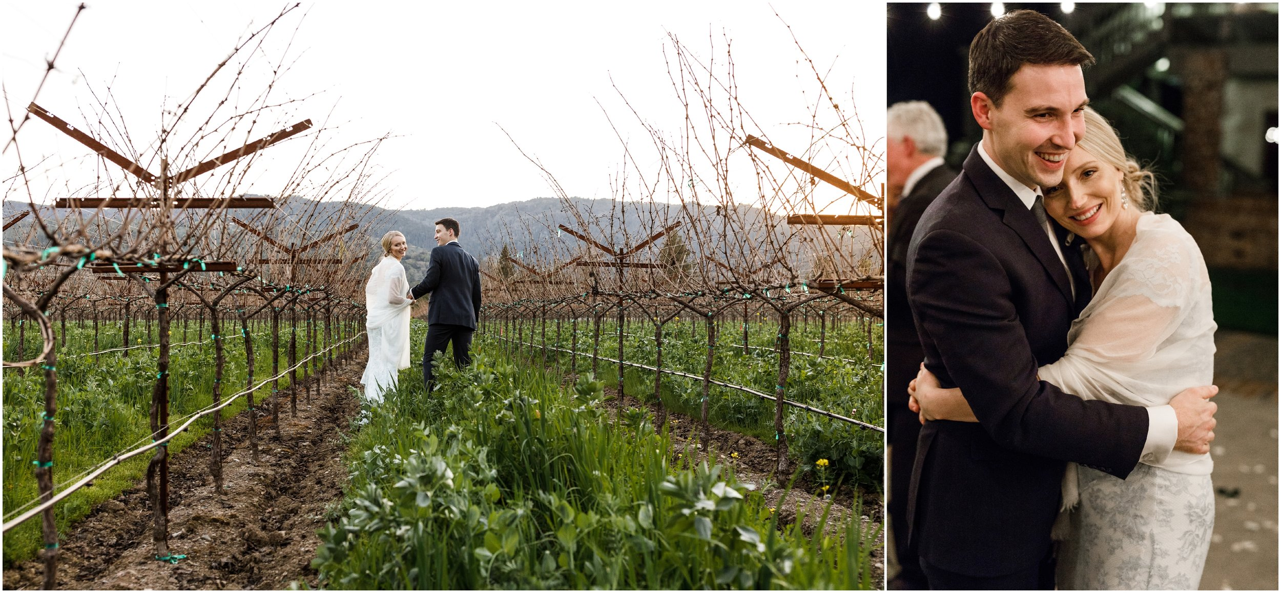 bride and groom walking through vineyard at the Harvest Inn