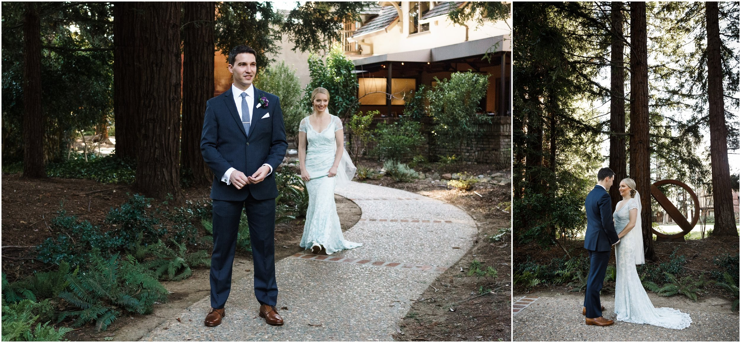 bride and groom's first look at the Harvest Inn in Napa Valley