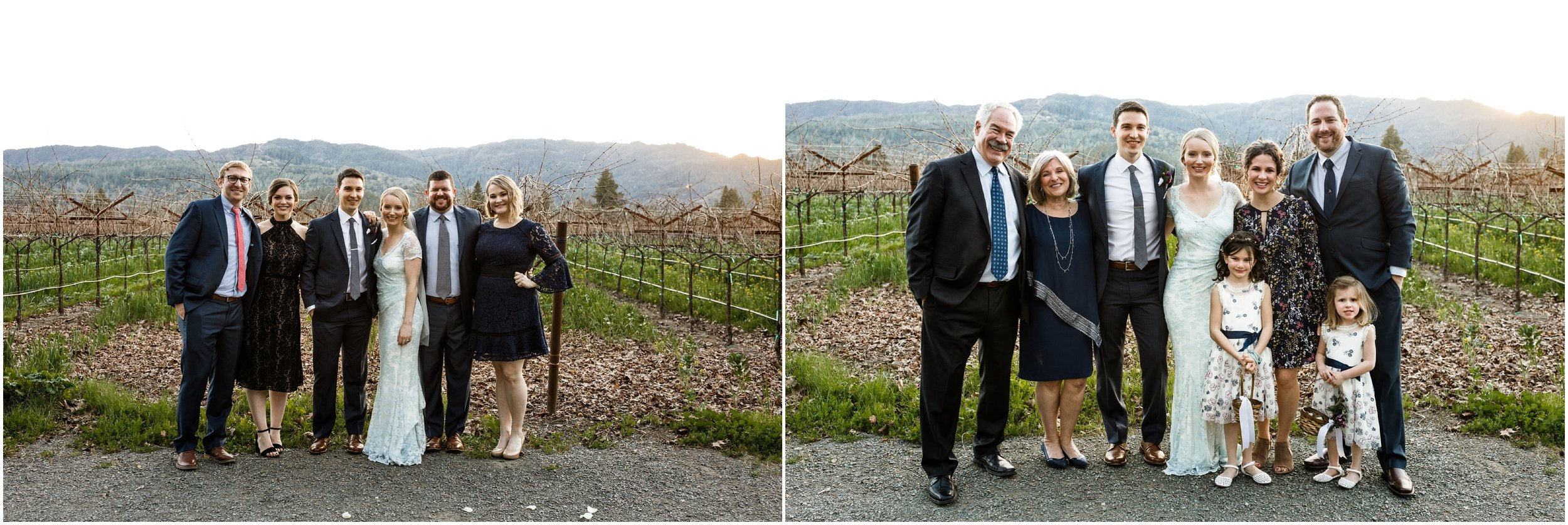family posing at the Harvest Inn with vineyard and mountains in the background
