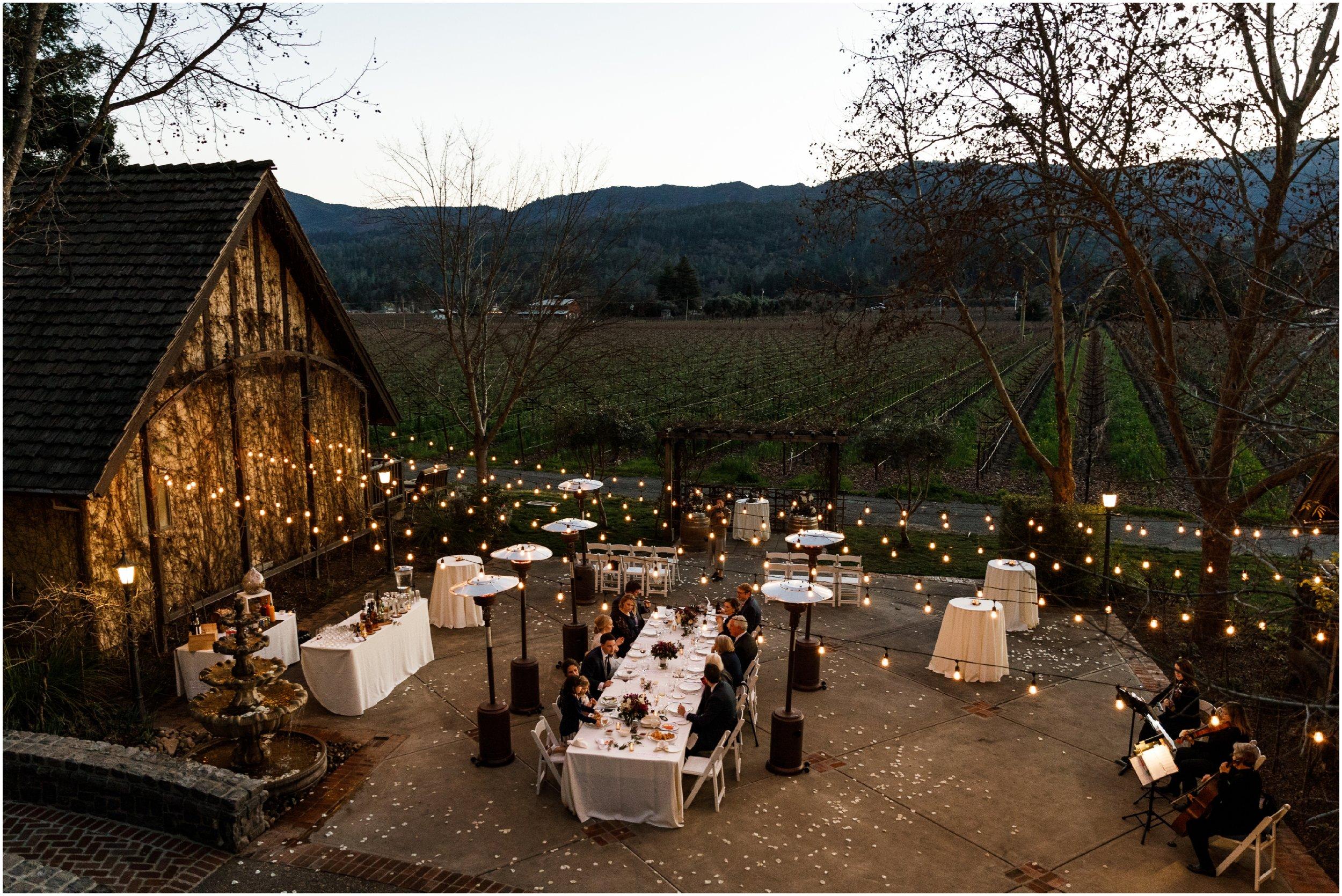 wedding reception at the Harvest Inn during dusk