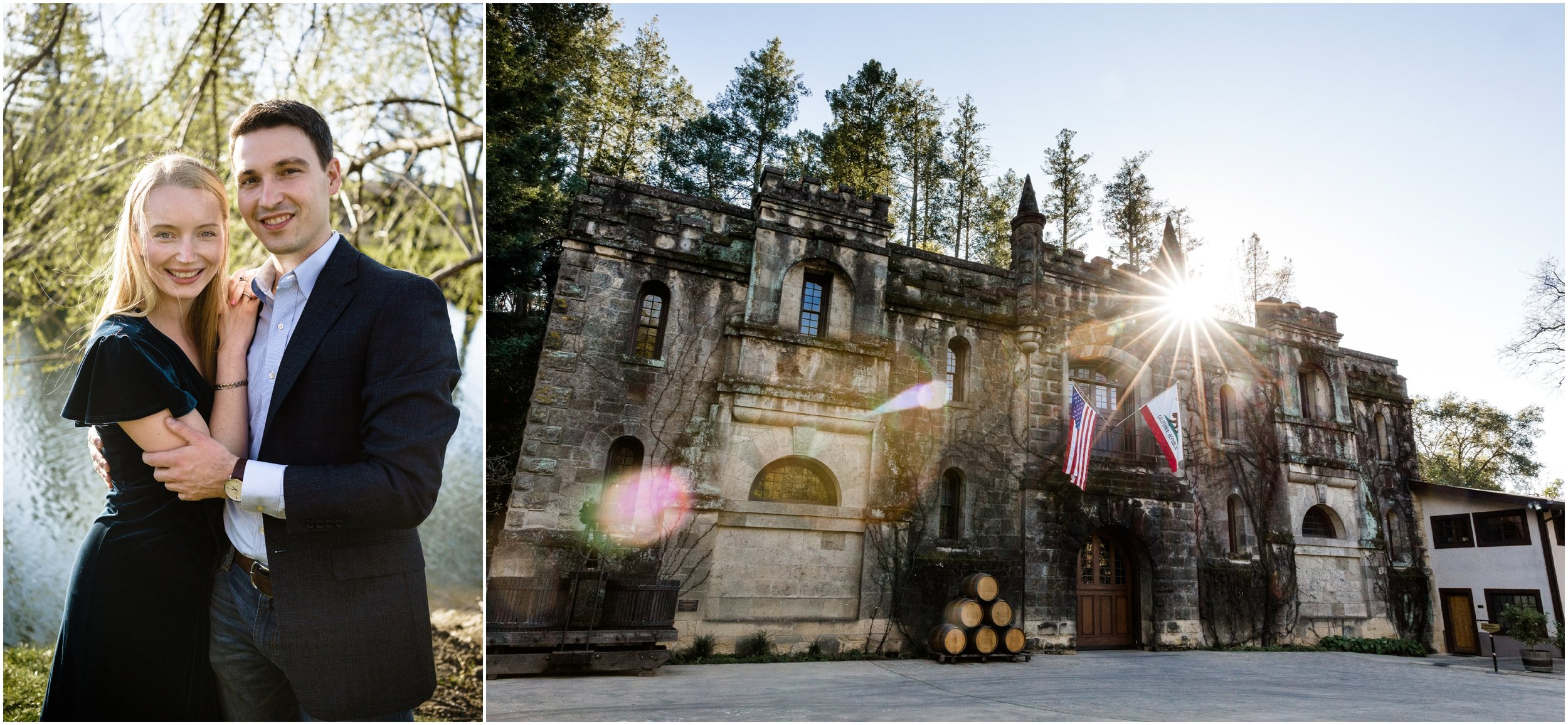couple posing at Chateau Montelena in Napa Valley