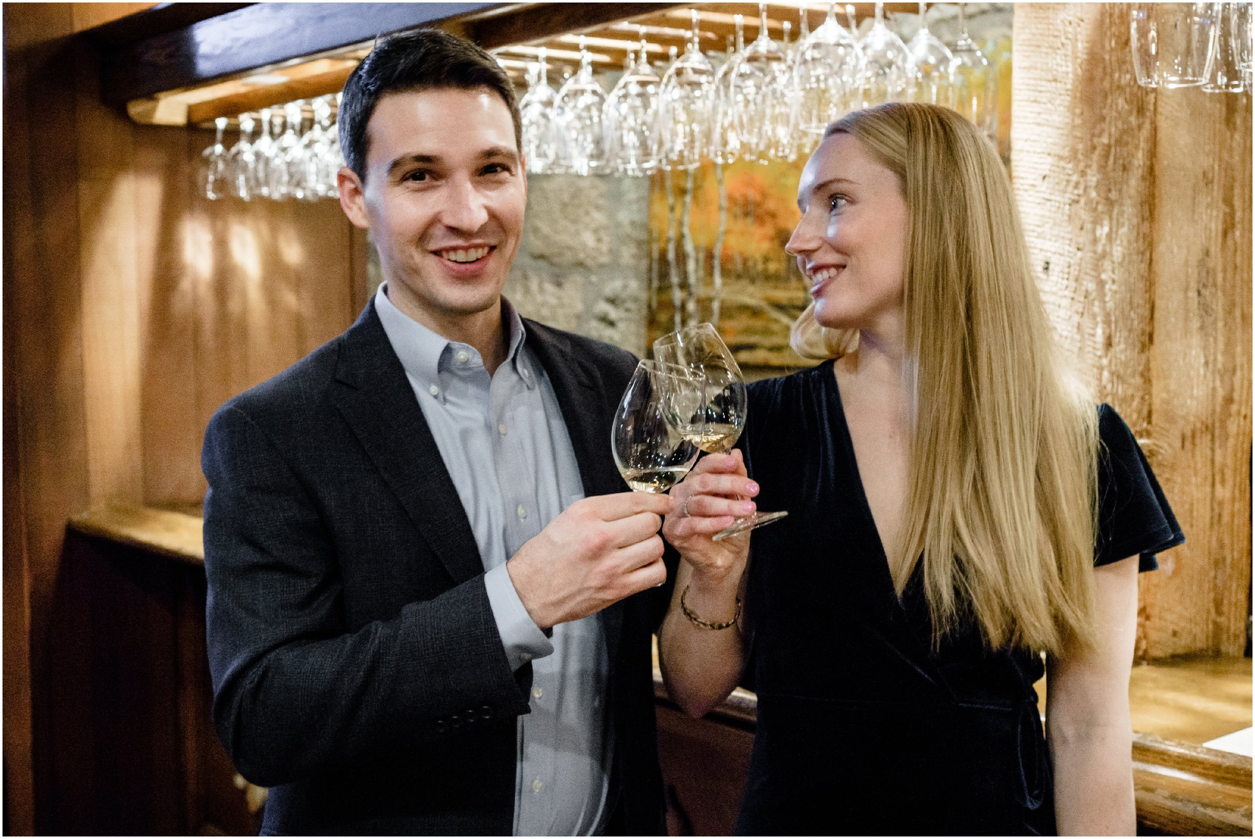 couple tasting wine at Chateau Montelena in Napa Valley