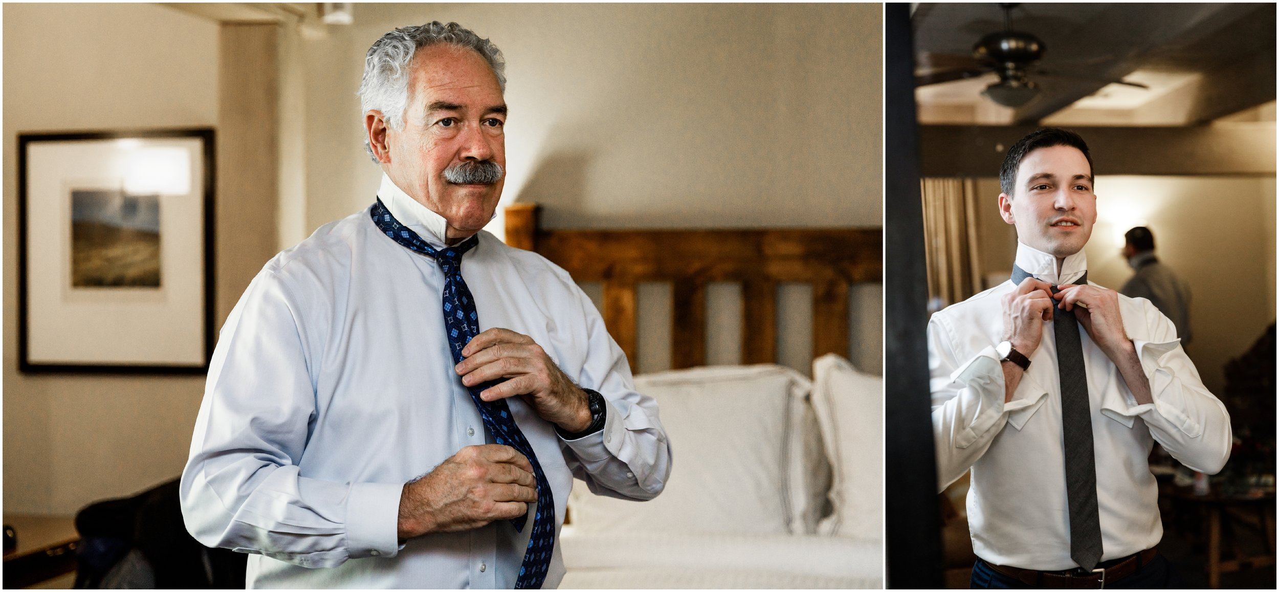 father of groom adjusting tie