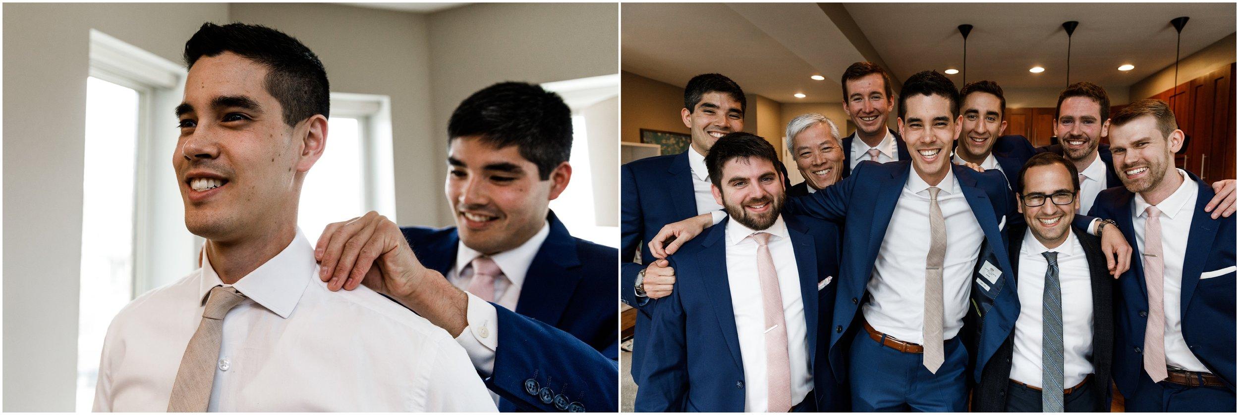 best man adjusting groom's tie