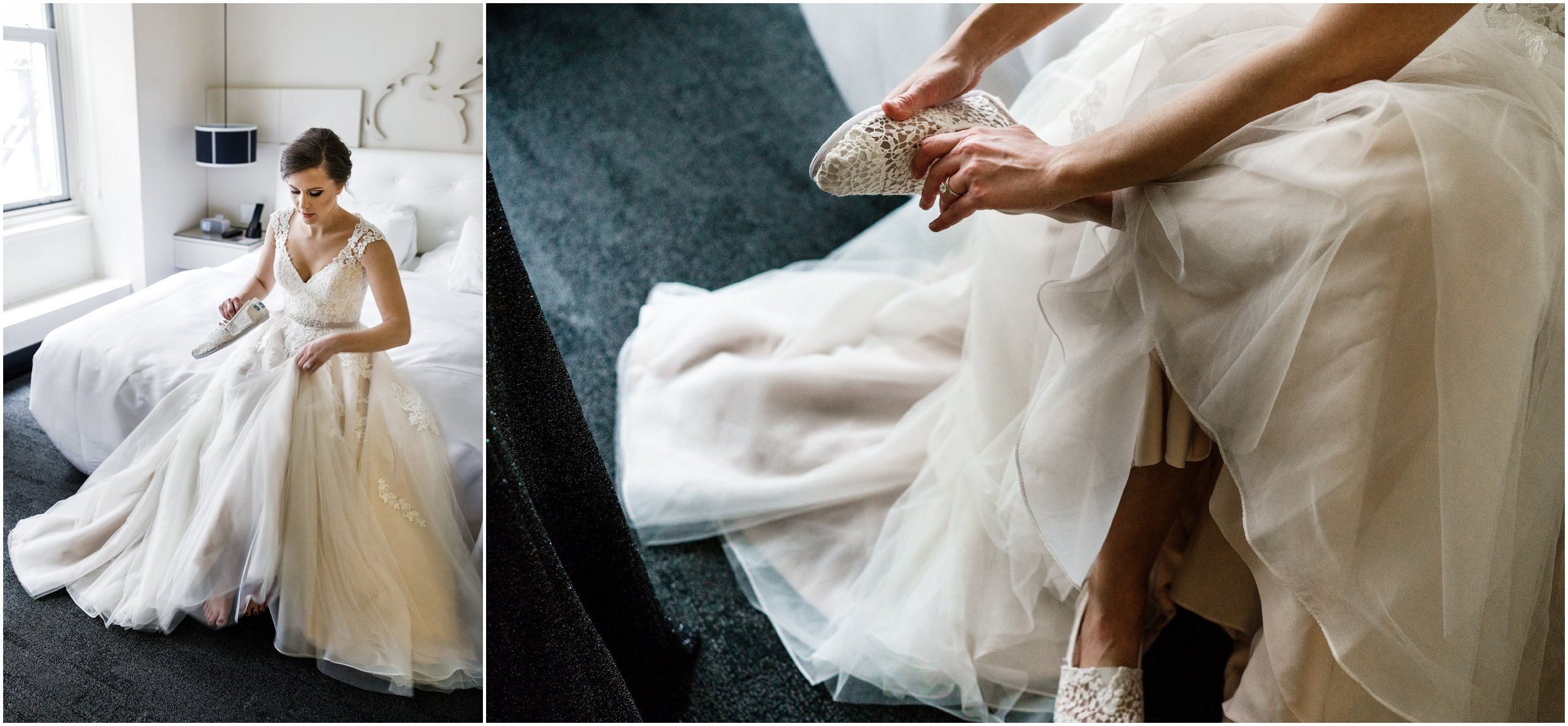 bride at W hotel putting on her wedding shoes