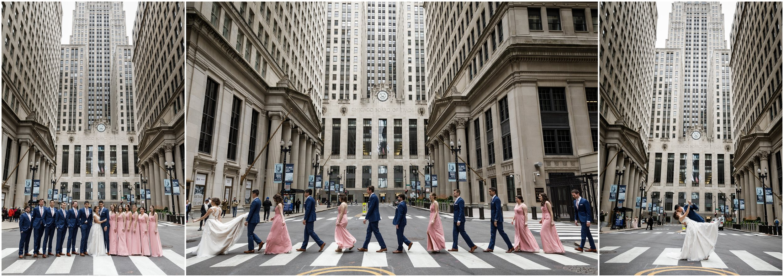 wedding party posing in front of the Chicago Board of Trade