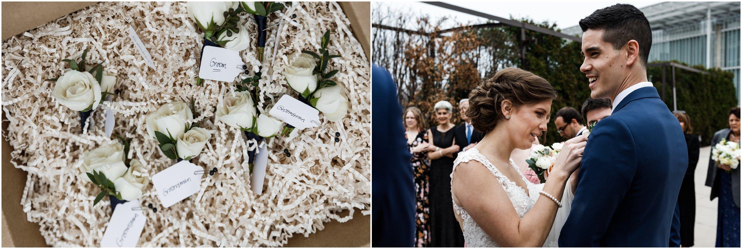 detail shot of wedding boutonnieres