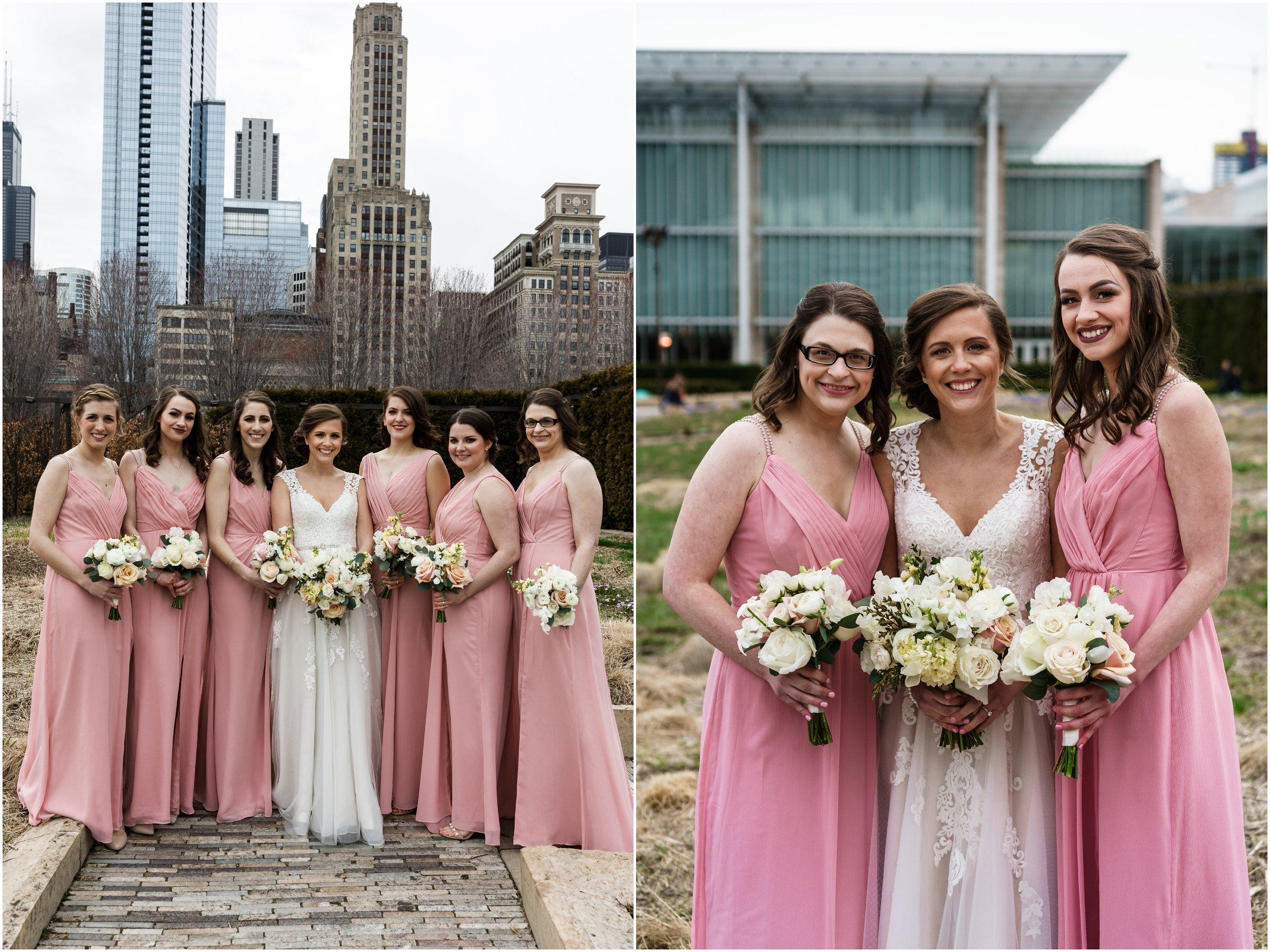 bridal party posing in Millennium park's Lurie garden