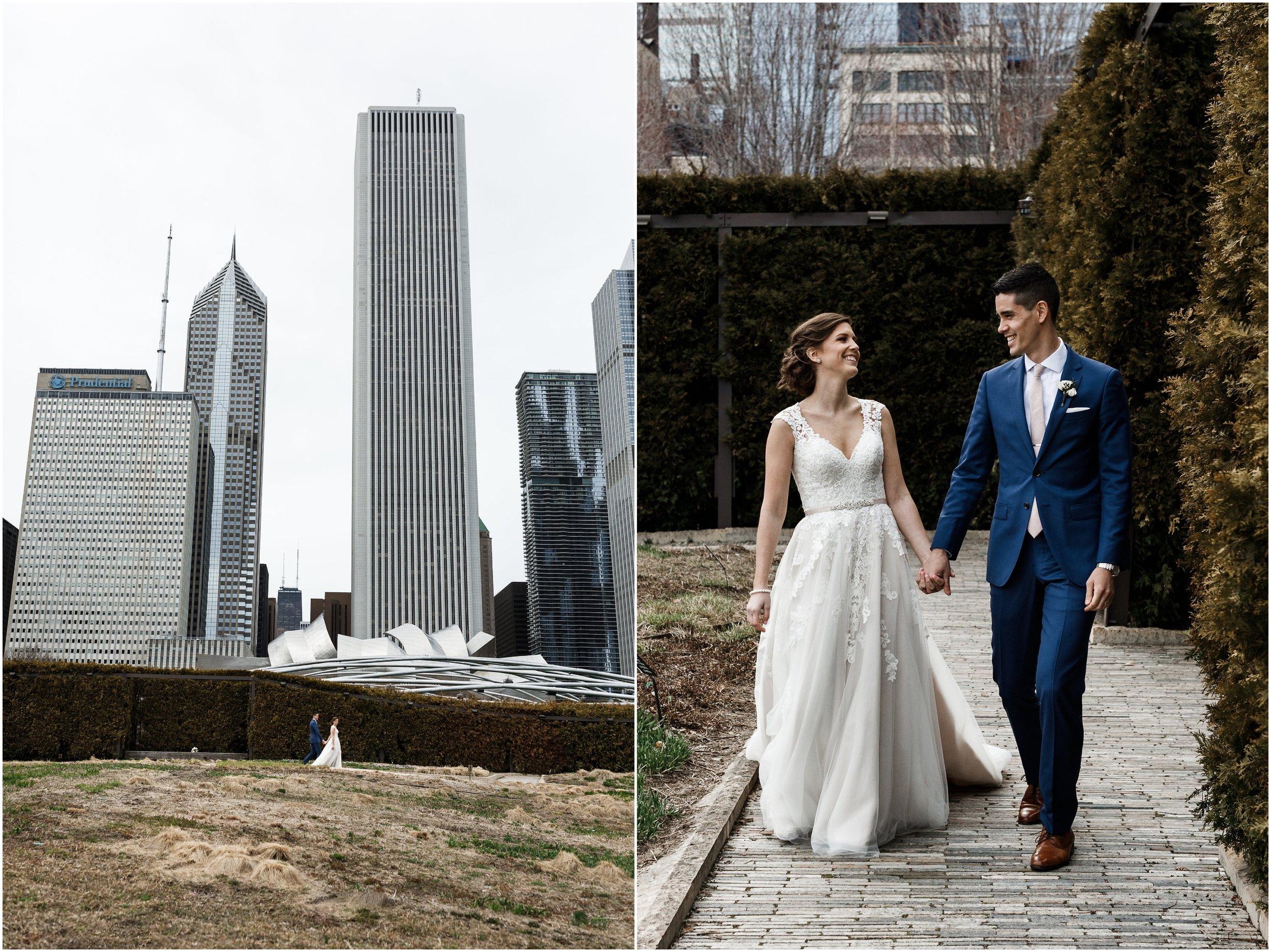 bride and groom walking in Millennium park's Lurie garden