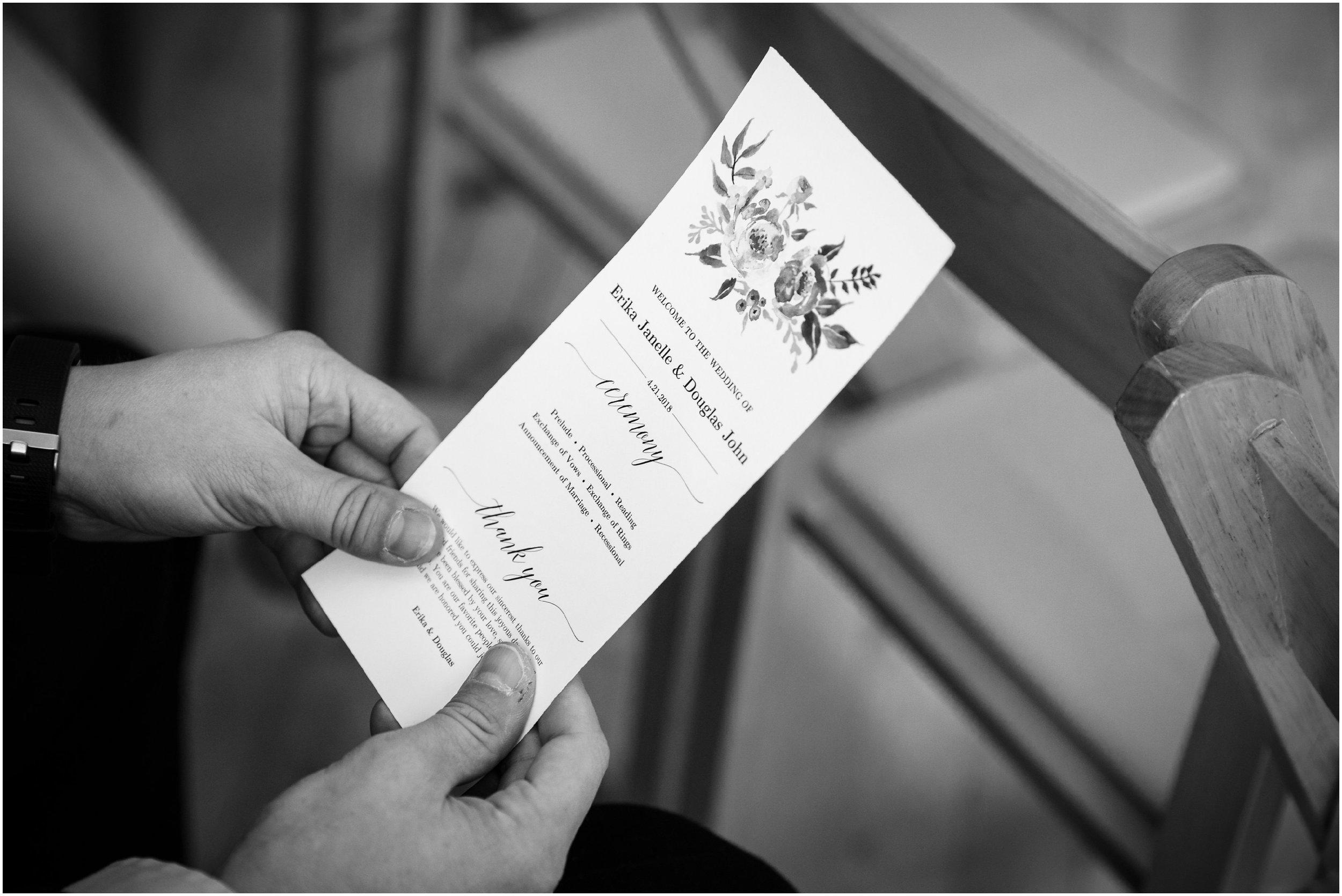 detail shot of wedding program