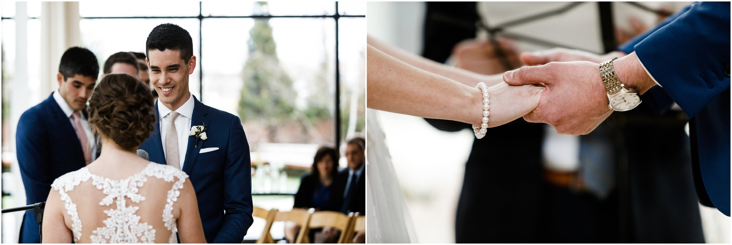 groom smiling during wedding ceremony at greenhouse loft in Chic
