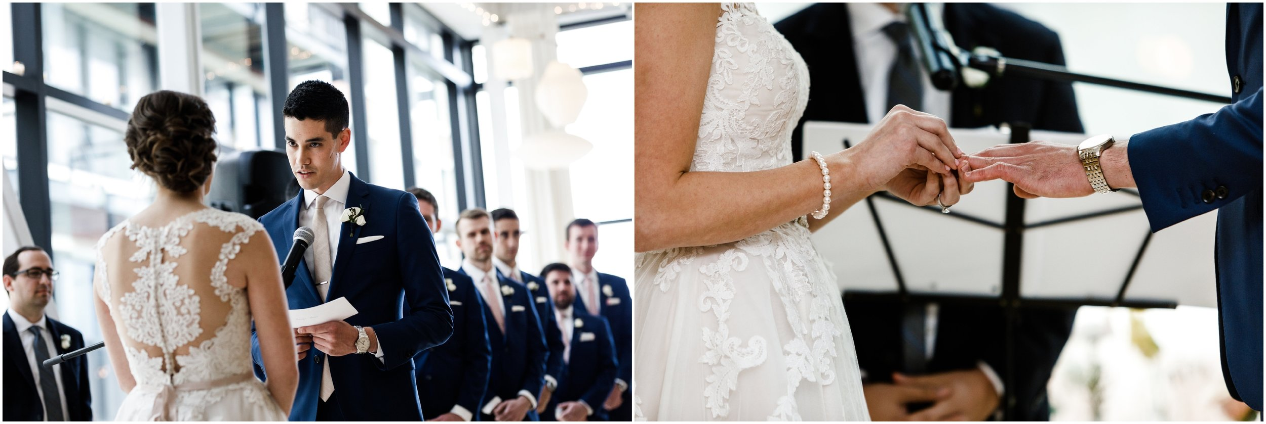 groom reading wedding vows at Greenhouse Loft in Chicago