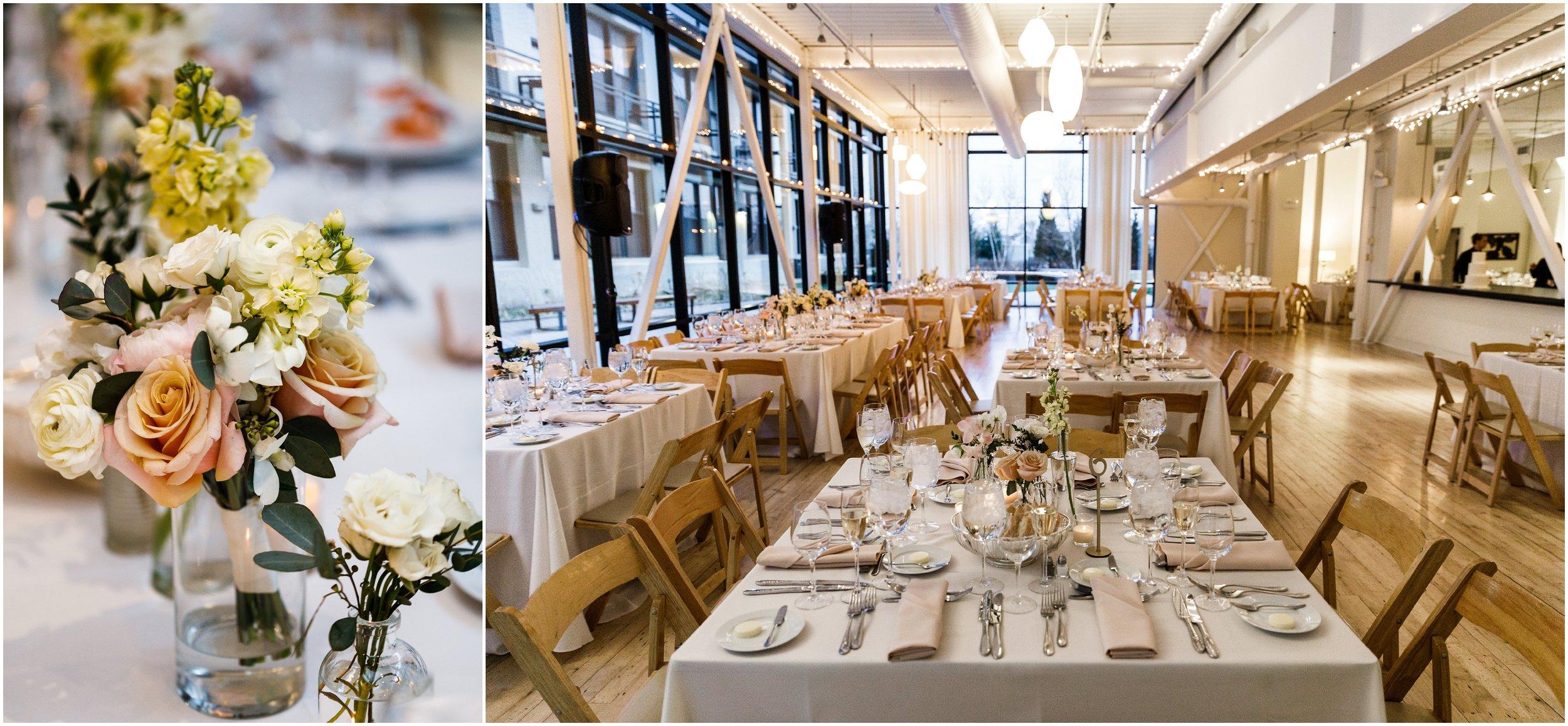 wedding flowers decorating reception tabletops