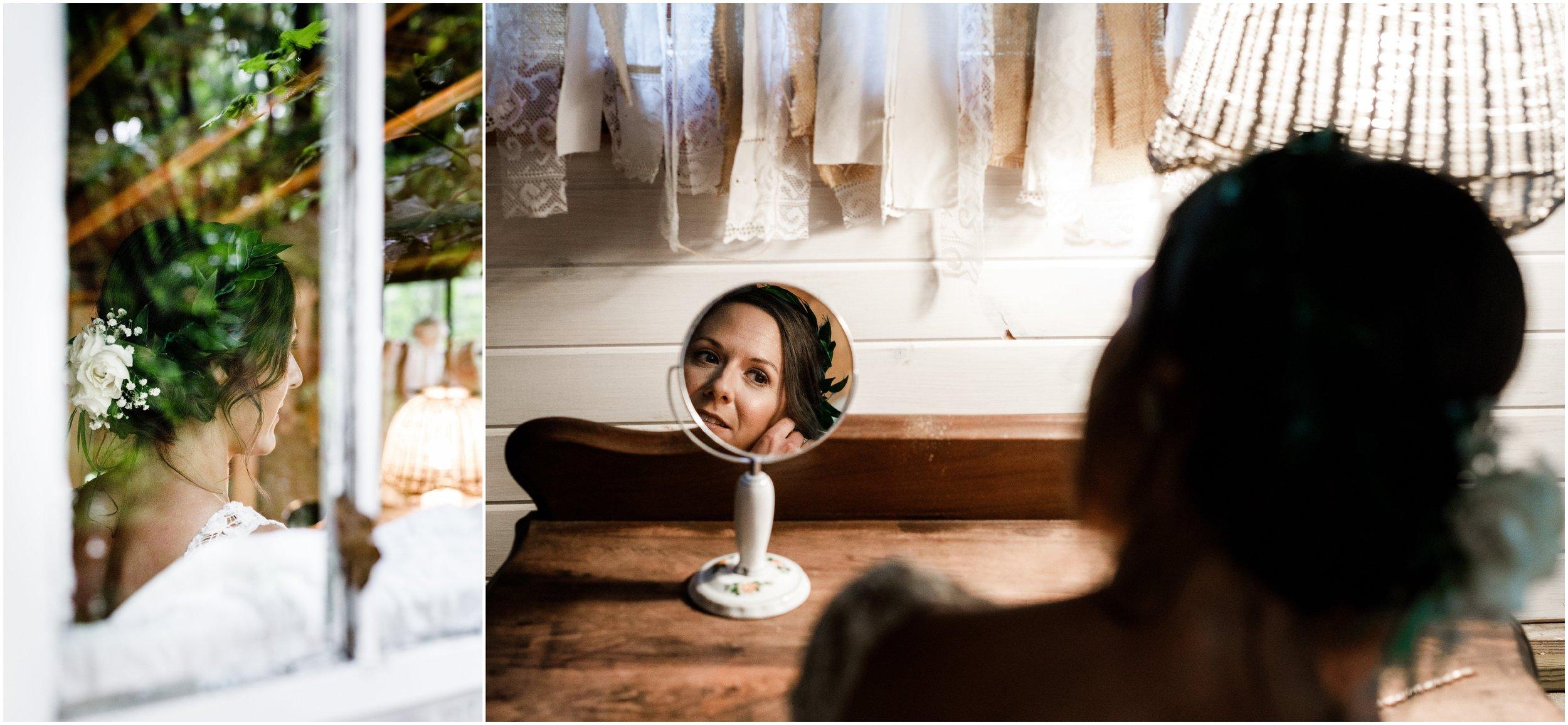 bride photographed through bridal studio window