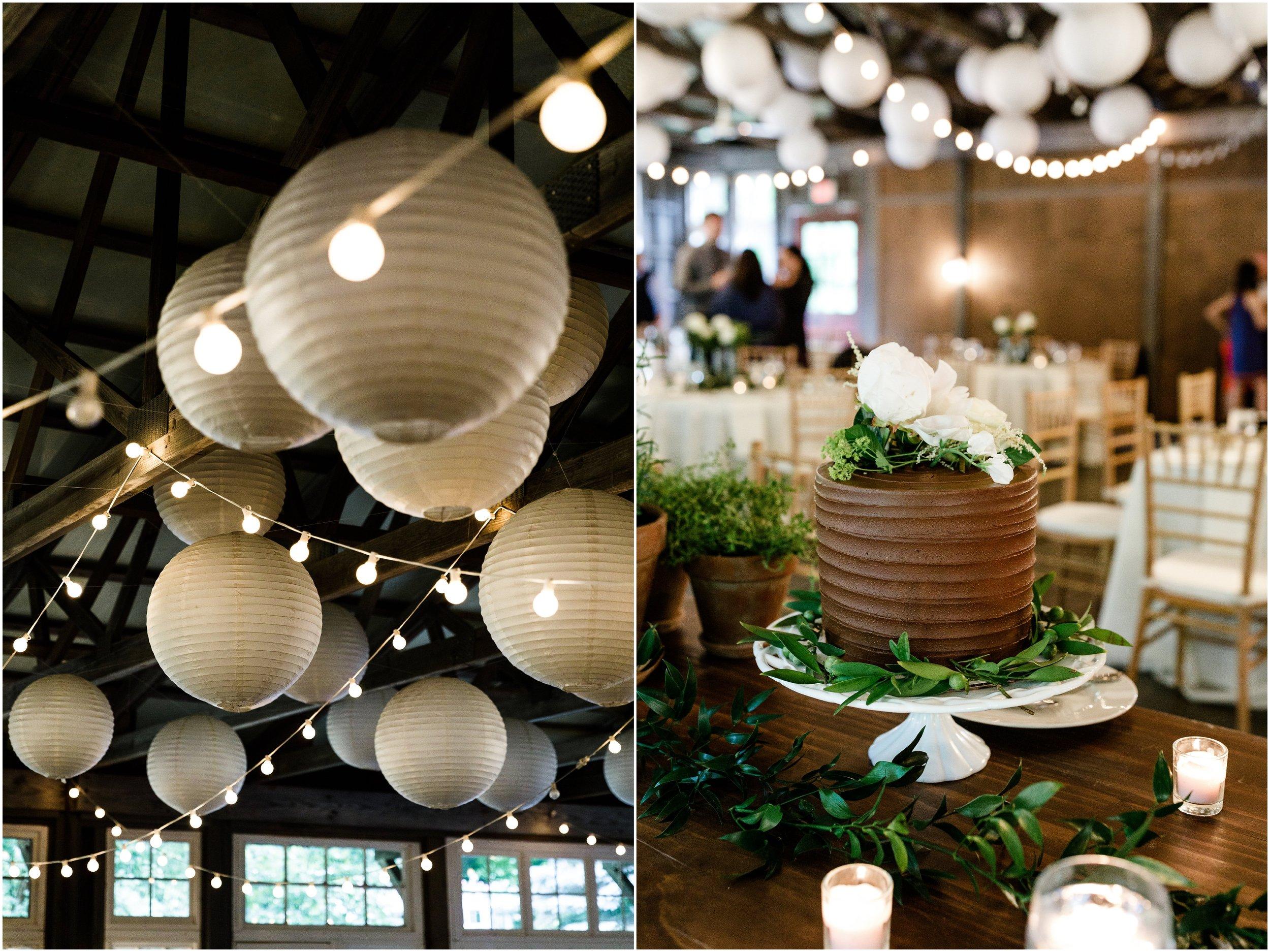 paper lanterns decorating barn
