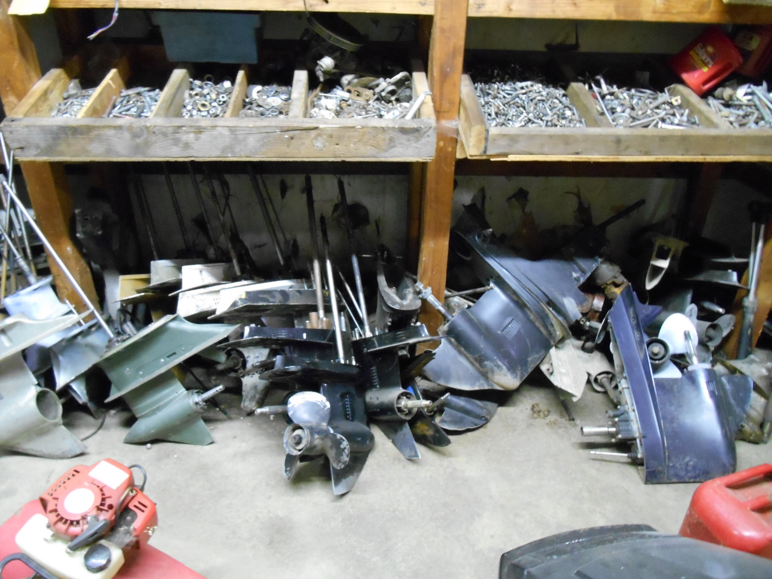 We have a large selection of used parts and accessories on hand, mostly Evinrude, Johnson and Mercury. Also boat parts and trailer parts. Call for availability.