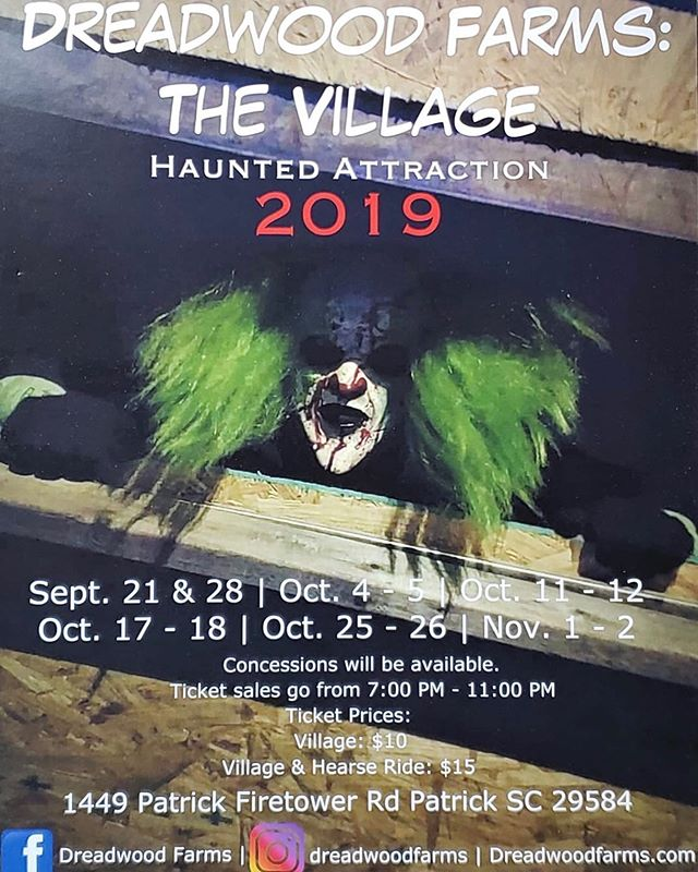 Good afternoon Dreadwood fans! It is getting closer and closer to opening night! Here is the 2019 haunt season information. If there are any questions, feel free to DM us on here or on our Facebook page! Hope to scare you there!