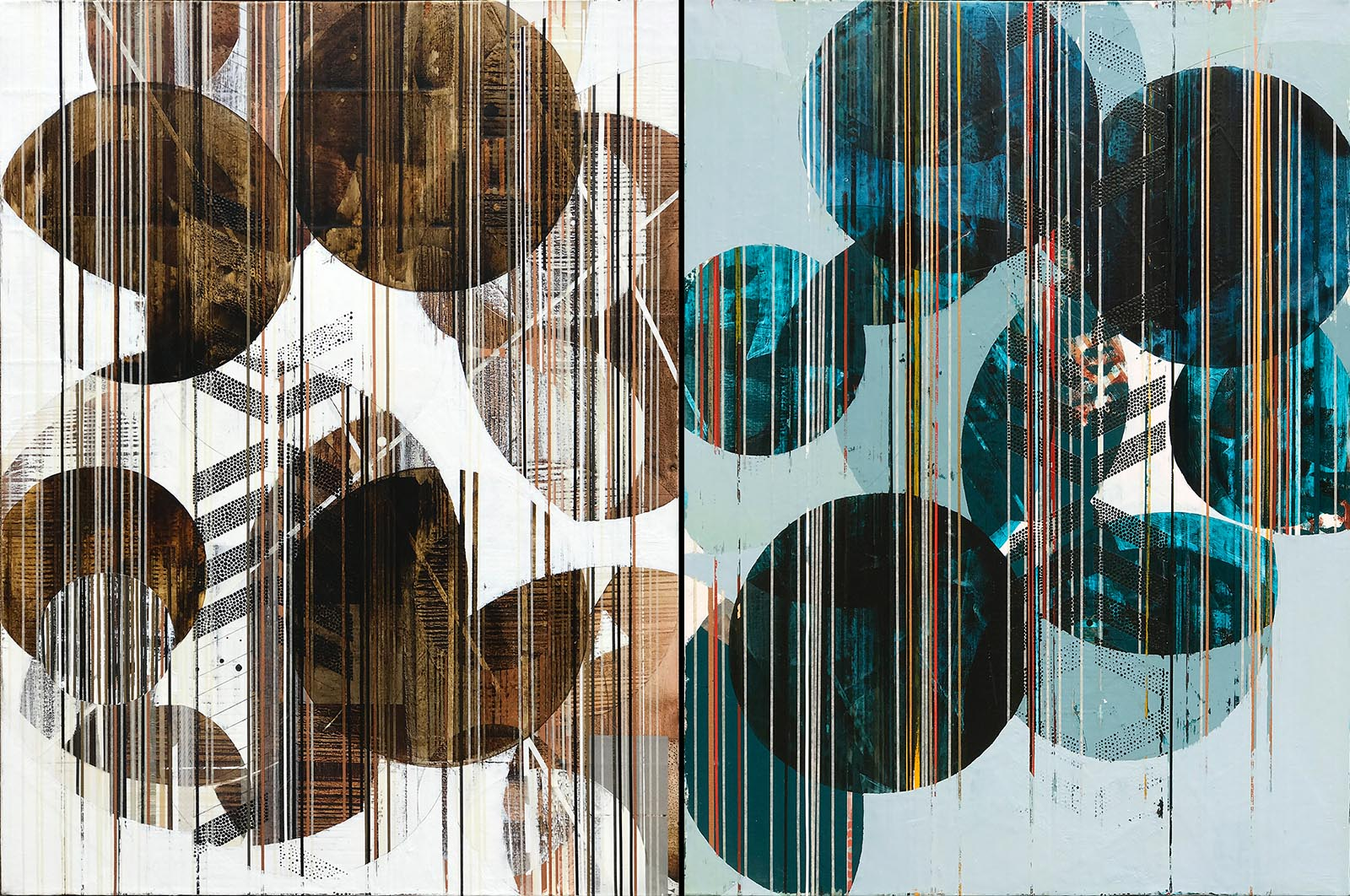 """You Are a Sea of Light 1 + 2 (Lantern) / 2017 / Diptych, 40""""h x 60""""w / Title from: Nayyirah Waheed, """"Salt"""""""
