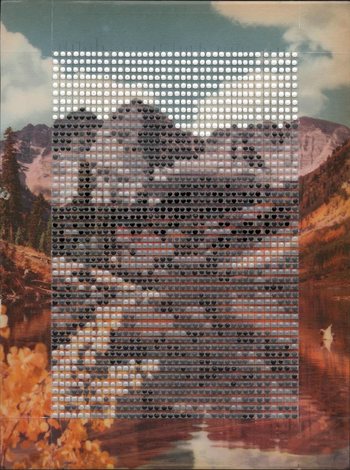 "Maroon Bells in Fall, Aspen Colorado / Borrowed Landscape No.9 / 2017 / 11""h x 8.25""w / Private collection"