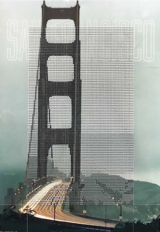"Golden Gate Bridge 1960s, San Francisco, CA / Borrowed Landscape No.12 / 2018 / 29""h x 20""w"