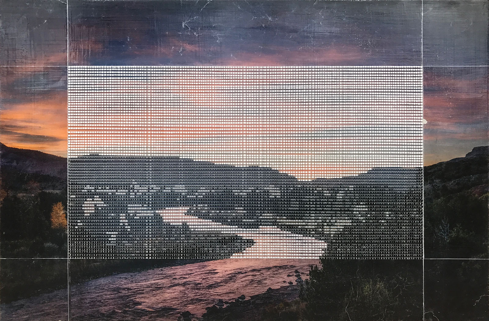 """Chama River Canyon / Borrowed Landscape No.7 / Collaboration with Jonathan Keeton / 2017 / 24""""h x 36""""w / Private collection"""