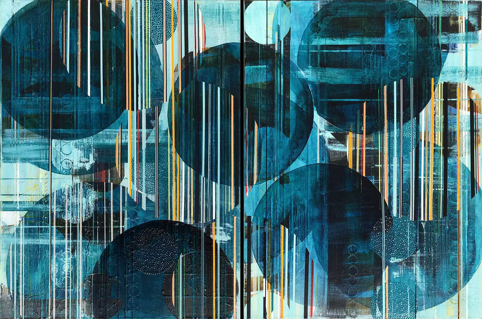 """You blush like an ocean in love, wild with blueness / 2017 / Diptych, 40""""h x 60""""w / Title from: """"Salt"""", poems by Nayyirah Waheed / Private collection"""