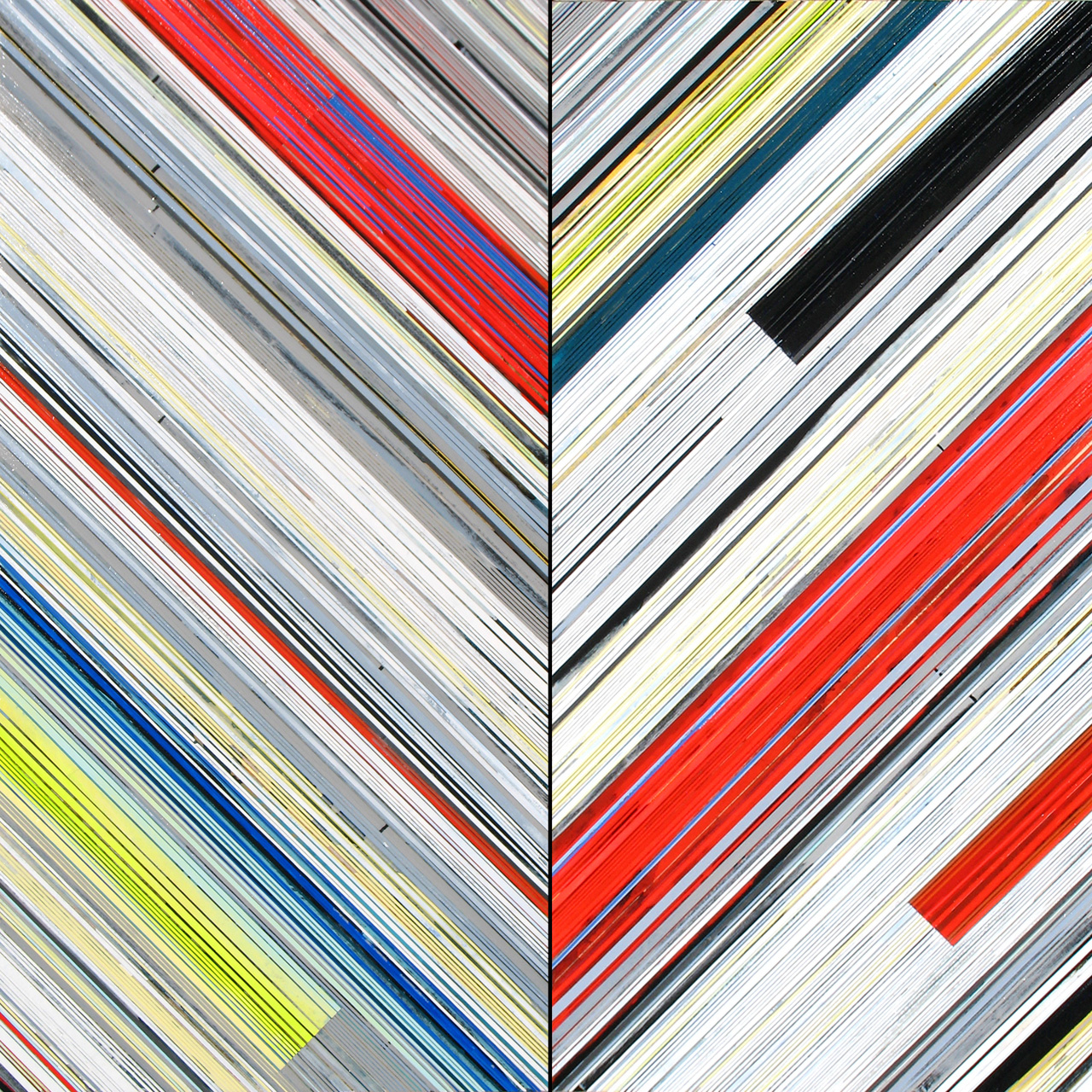"Weaving 1425 (Chevron) / 2014 / Diptych, 54""h x 54""w"