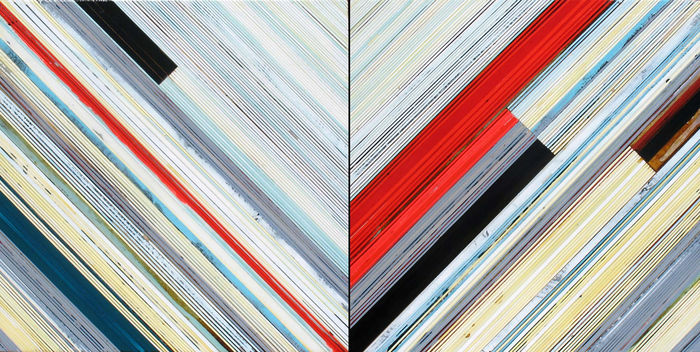"Weaving 1423 (Chevron) / 2014 / Diptych, 24""h x 48""w"
