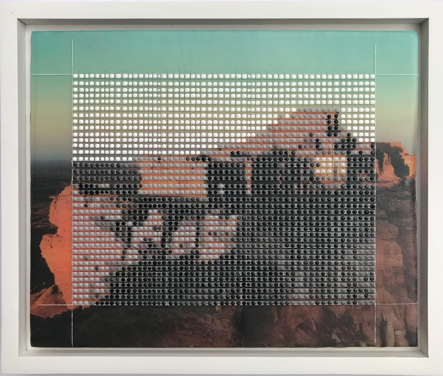 """Walpi, Hopi Villages, First Mesa 1946, Monument Valley, AZ / Borrowed Landscape No.14 / 2018 / 9""""h x 11""""w, framed dimension 10.5""""h x 12.5""""w x 1.25""""d / Painting and collage on panel / Custom framed"""