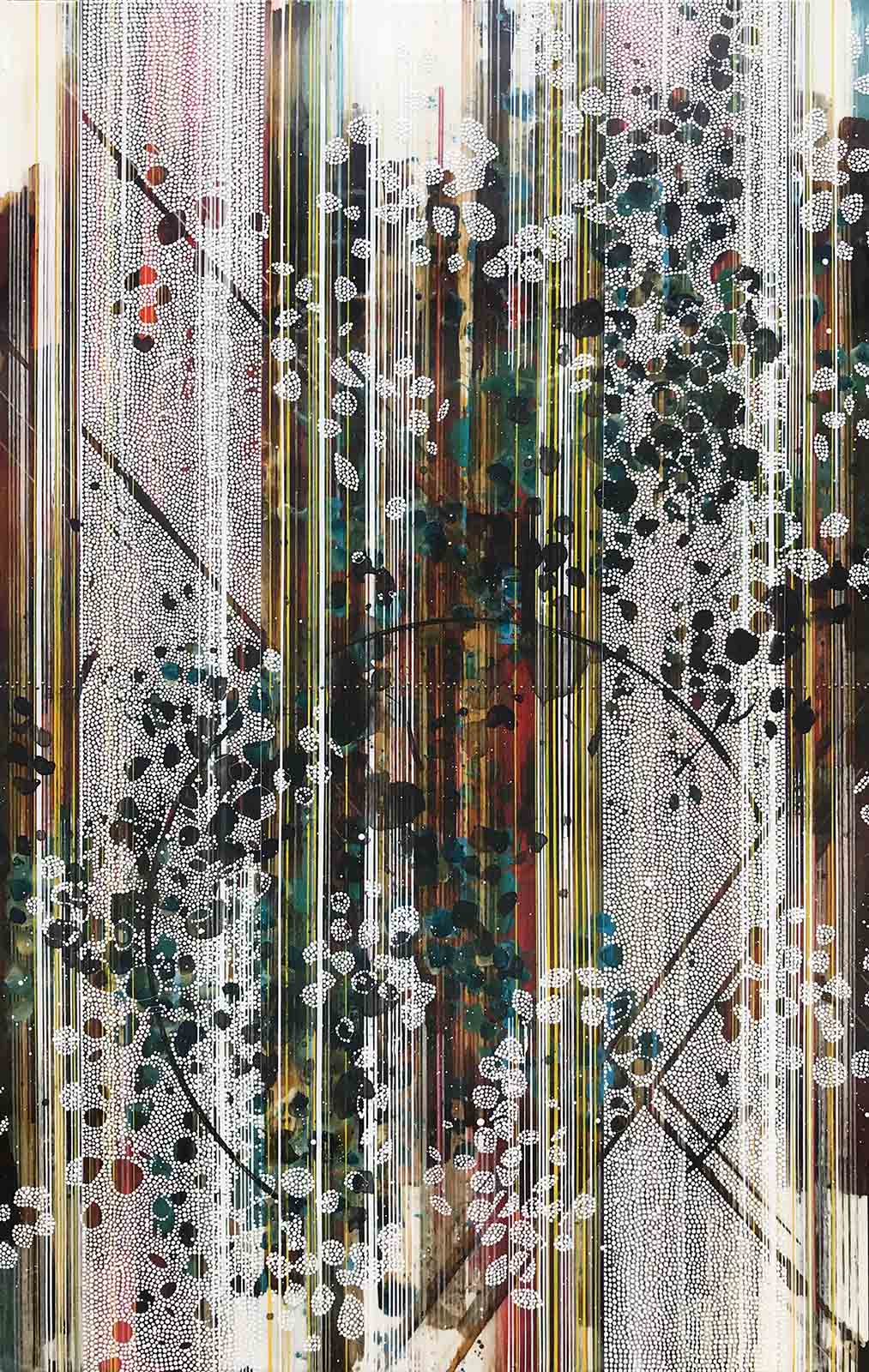 "Love is the whole thing, we are only pieces / Botanical Series / 2019 / 72""h x 46""w / Acrylic, ink, charcoal, graphite, pen, paper and brass on panel / Unframed with bare wood edge / Title from: Rumi"