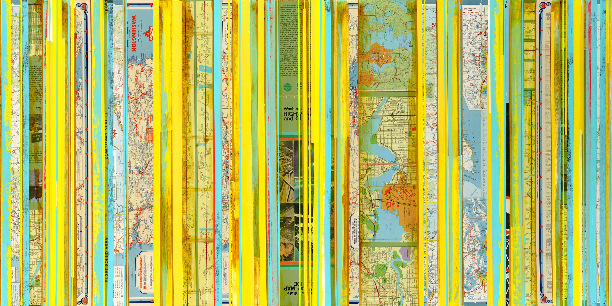 """Map Painting 1404 / Washington, Seattle / Mapping Series / 2014 / 24""""h x 48""""w x 2""""d / Vintage maps, paper collage and ink on panel / Unframed with bare wood edge"""