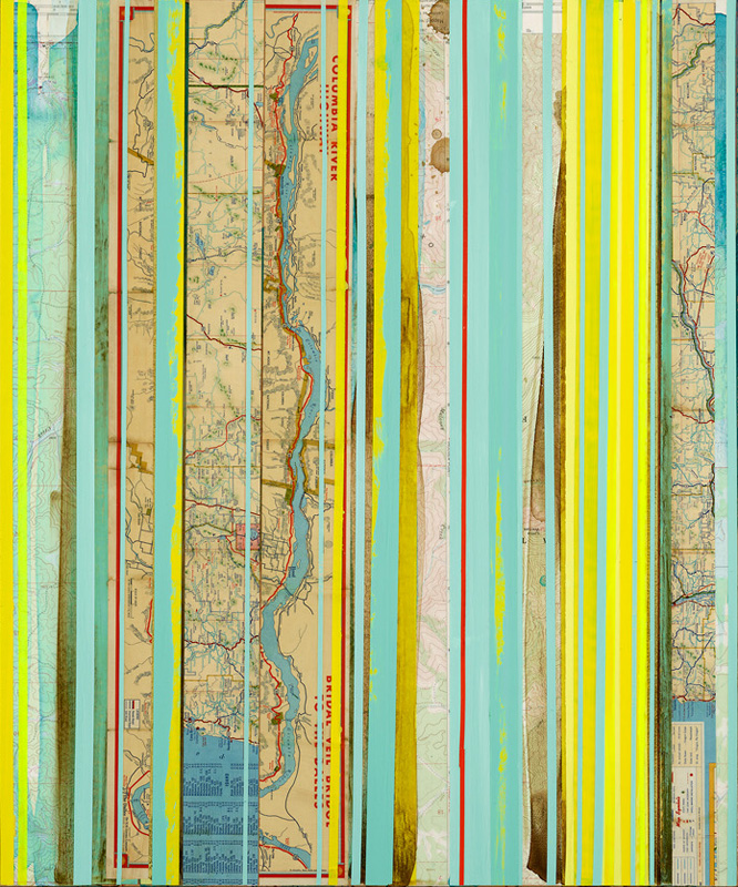"""Pacific Northwest, Oregon and Yellow 3 / Mapping Series / 2016 / 24""""h x 20"""" w x 1.5""""d / Vintage nautical maps, paper collage and ink on canvas / Unframed with collaged edge"""