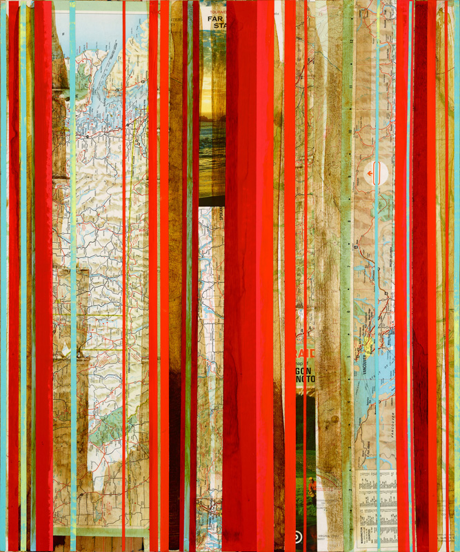 """Pacific Northwest in Red 3 / Mapping Series / 2016 / 24""""h x 20"""" w x 1.5""""d / Vintage maps, paper collage and ink on canvas / Unframed with collaged edge"""