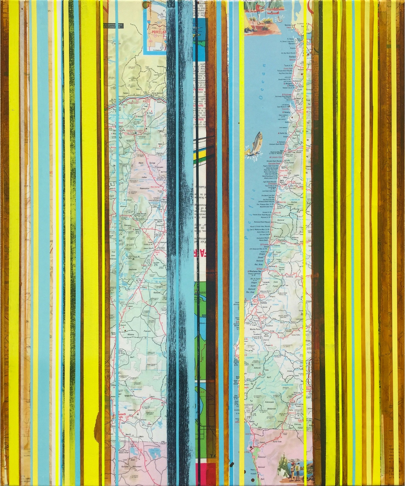"""PNW in Lemon Tonic / Mapping Series / 2016 / 24""""h x 20"""" w x 1.5""""d / Vintage maps, paper collage and ink on canvas / Unframed with collaged edge"""