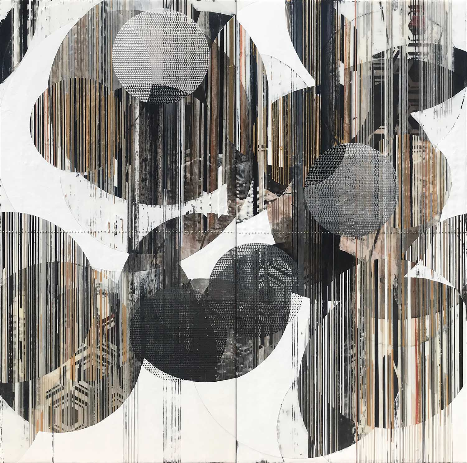 """Softly soaring through my atmosphere / Lantern Series 60""""h x 60""""w x 2""""d combined / Acrylic, ink, charcoal, graphite, pen, paper, canvas and brass on panel / Unframed / Title from: Death Cab For Cutie"""