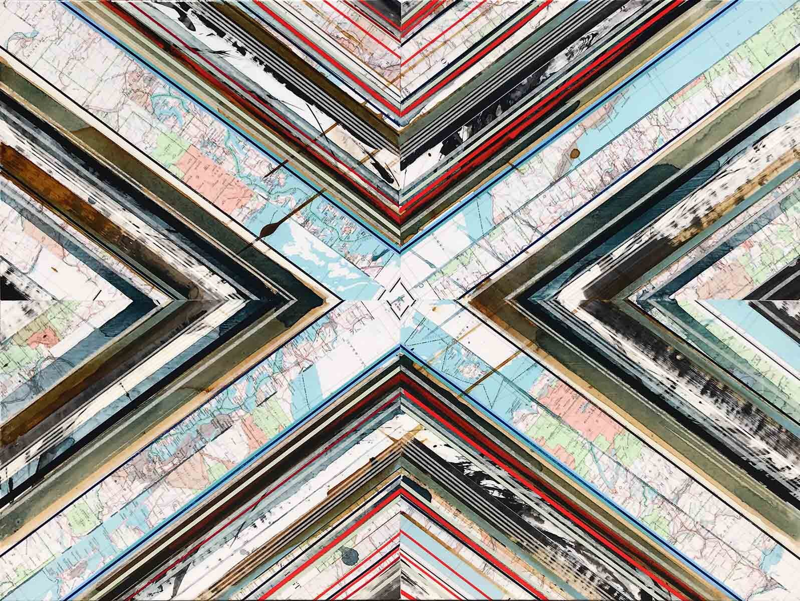 """Washington State / Blue and Red / Mapping Series / 2019 / 36""""h x 48"""" w x 1.5""""d / Vintage maps, paper collage and ink on canvas / Unframed with collaged and painted edge"""