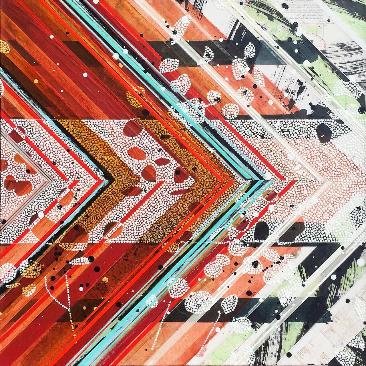 """Flourish 2 (Thrive) / Mapping Series / 201624""""h x 24""""w x 1.5""""d; 24.5""""h x 24""""w x 1.5""""d framed / Painting and collage on canvas / Custom framed in aluminum"""