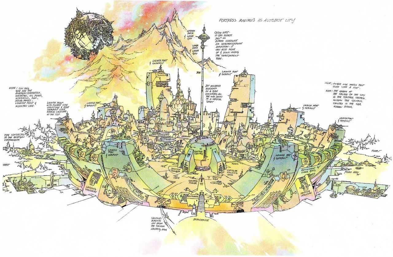 Great design by Floro Dery when Fortress Maximus was meant to be Autobot City.
