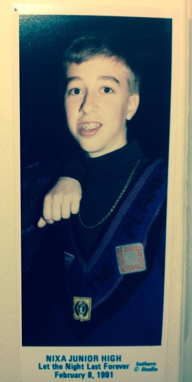 Here's our man Caleb rockin' that sweet Apparatus sweater with the patches. He tore up that junior high dance.