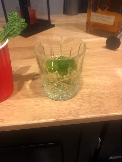 The Ryan    · Muddled Mint (because he thinks he's cool)    · Gin (obvious reasons)    · Simple syrup (because I may give him a hard time on twitter but he is a sweet guy)    · To be served in a crystal glass, because Ryan knows what's up with drink ware.