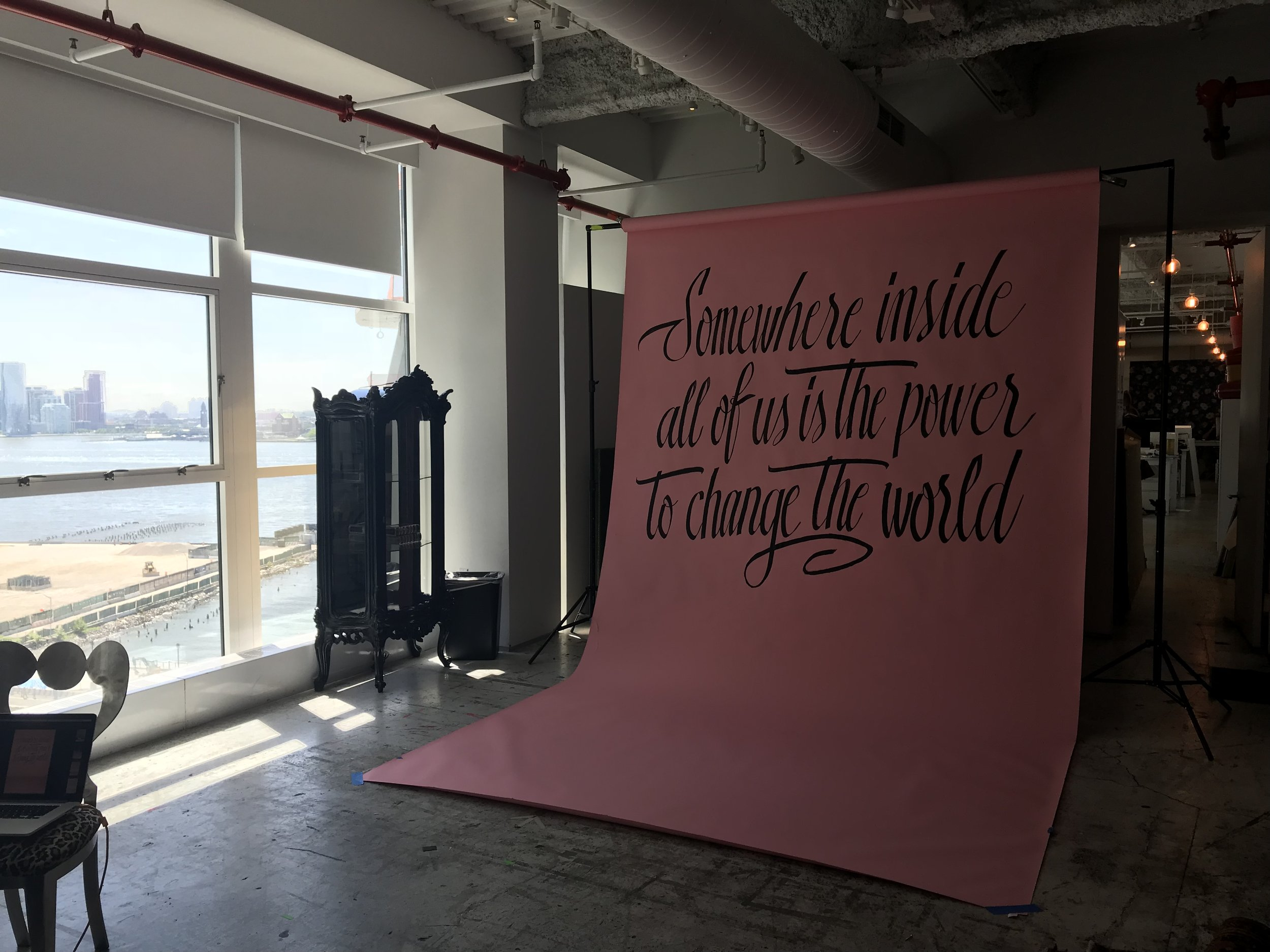 After  Lettering on seamless backdrop for photoshoot