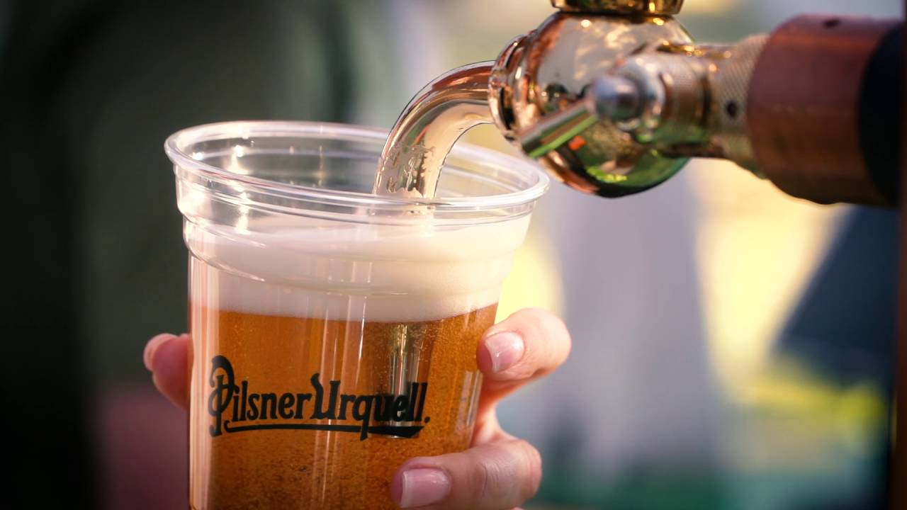 Pilsner Urquell beer tap in Prague, Czech Republic